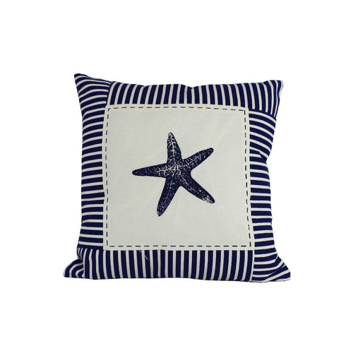 Handcrafted Nautical Decor Starfish Nautical Stripes Throw Pillow by Handcrafted Model Ships