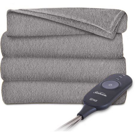 "Sunbeam Fleece 50"" x 60"" Grey Electric Heated Throw Blanket, 1 Each"
