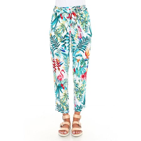 Geman Women's Tropical Floral Print Capri Trouser Pants Self Tie Waistband White/Multi Small