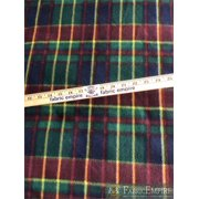 """Fleece Printed Fabric FAMILY TARTAN RED BLUE GREEN YELLOW / 58"""" Wide / Sold by the yard"""
