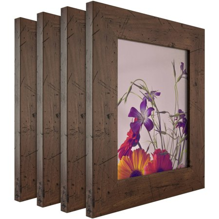 Craig Frames Bauhaus Modern Dark Walnut Picture Frame, Set of 4