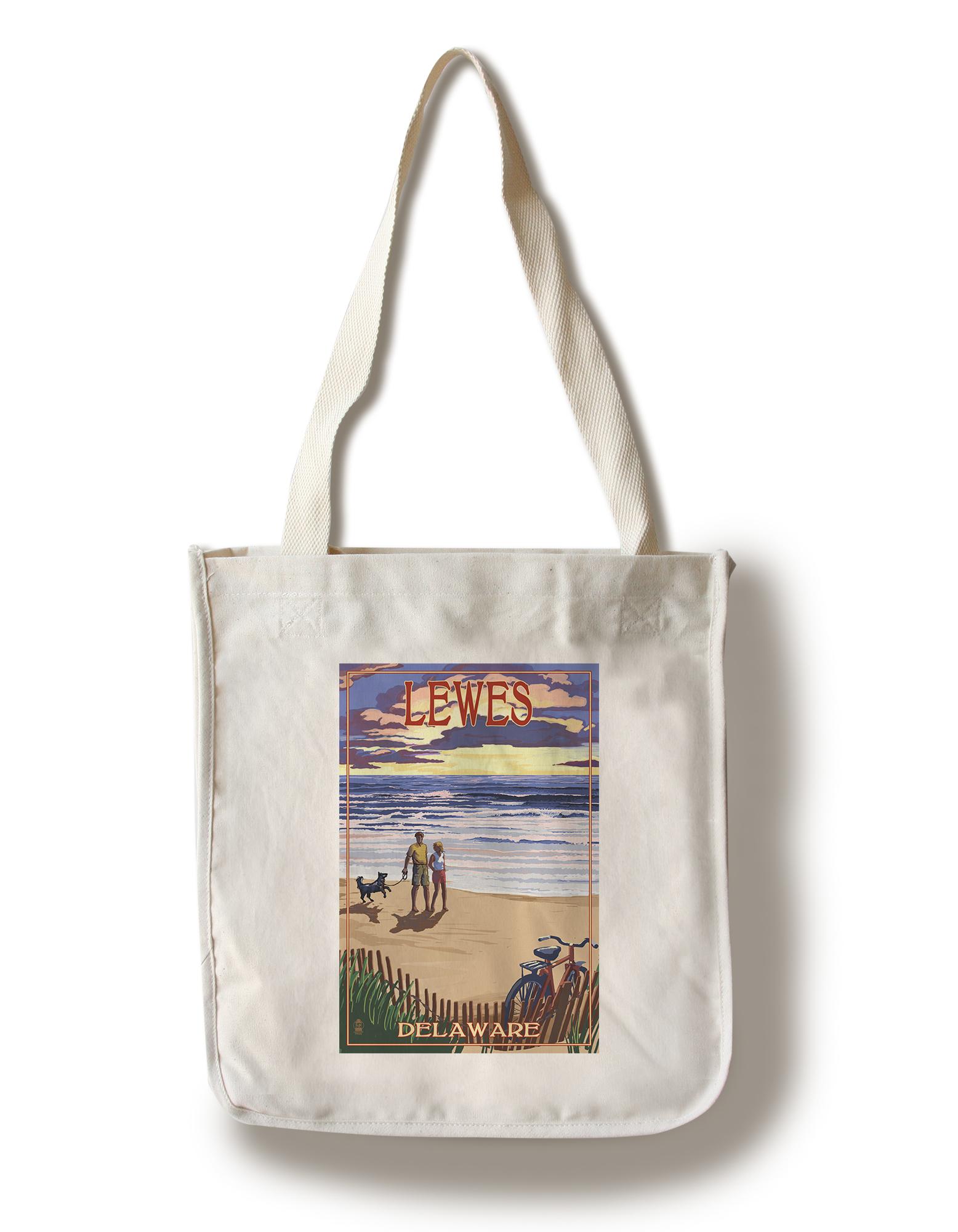 Lewes, Delaware - Beach & Sunset - Lantern Press Artwork (100% Cotton Tote Bag - Reusable)