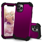 "iPhone 11 Pro Max 6.5"" Case, Allytech 3 In 1 Hybrid PC Silicone Heavy Duty Rugged Bumper Heavy Duty Defender Armor Shockproof Anti-Scratch Back Cover Case for Apple iPhone 11 Pro Max 6.5"", Purple"