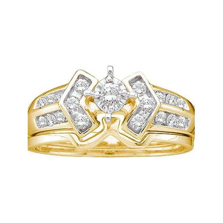 10kt Yellow Gold Womens Round Diamond Bridal Wedding Engagement Ring Band Set 1/4 Cttw - image 1 of 1