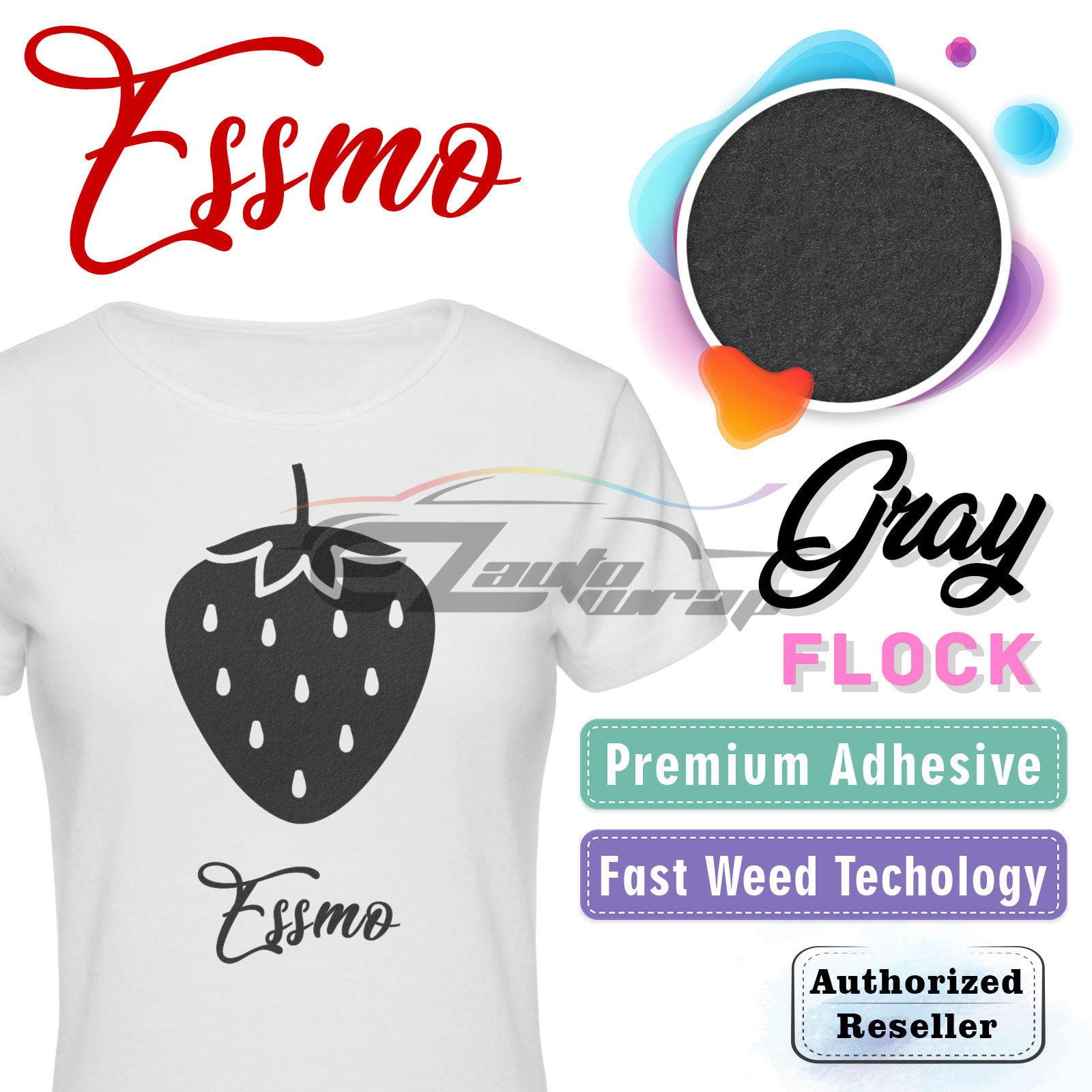 "ESSMO Gray Flock Heat Transfer Vinyl HTV Sheet T-Shirt 20"" Wide Iron On Heat Press 20""x12"""