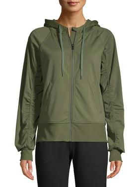 Athletic Works Women's Athleisure Shirred Sleeve Zip Front Hoodie Jacket