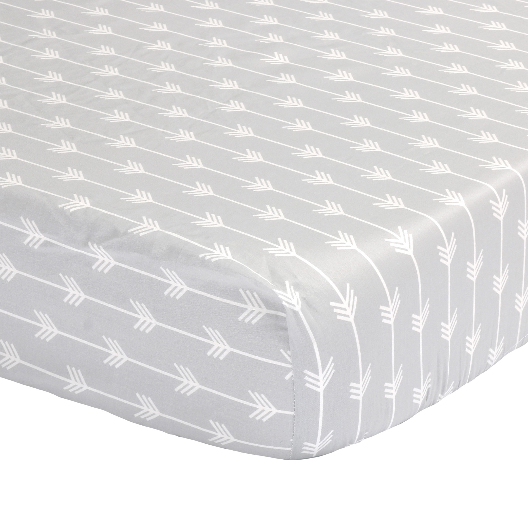 The Peanut Shell Baby Crib Fitted Sheet - Grey Arrow Chevron Print - 100% Cotton Sateen, Fits Standard 52 by 28 Inch Mattress