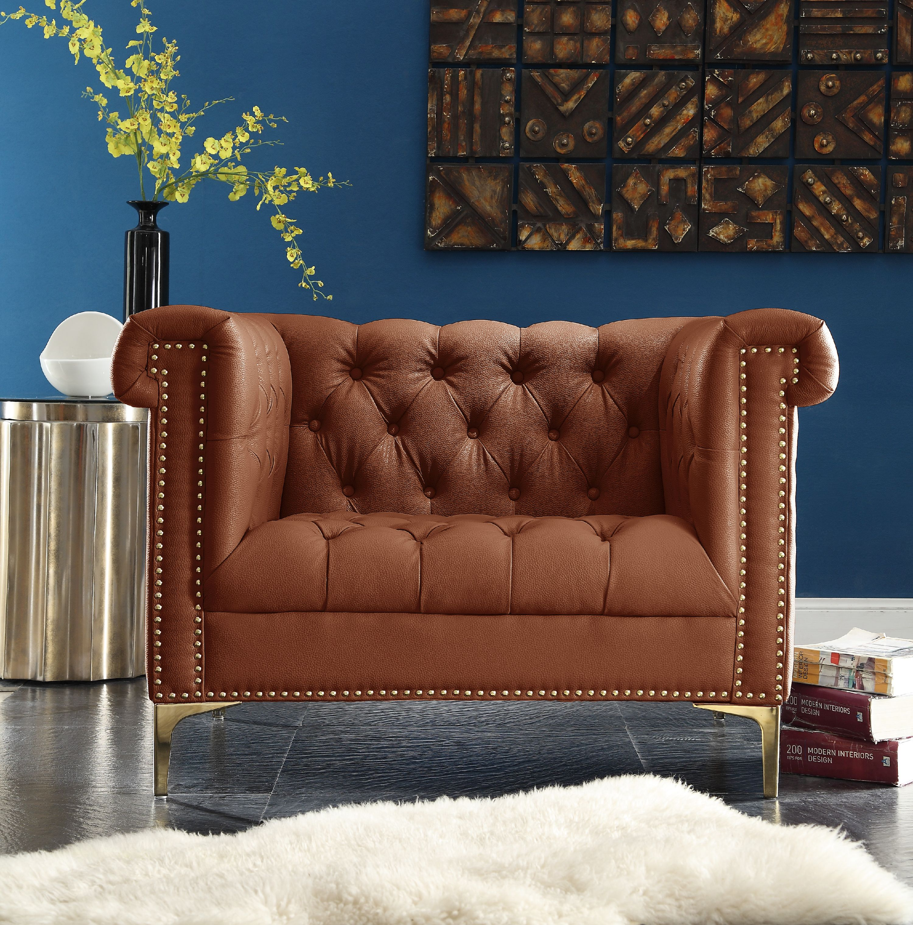 Chic Home Patton PU Leather Modern Contemporary Button Tufted with Gold Nailhead Trim Goldtone Metal Y-leg Club Chair,... by Chic Home