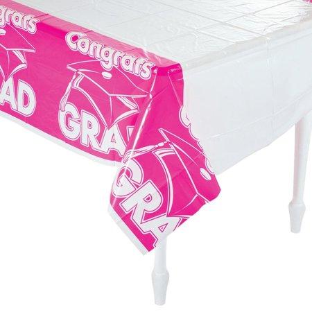 Hot Pink Congrats Grad Plastic Tablecloth - Hot Pink Plastic Tablecloth