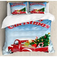 Christmas Duvet Cover Set, Pickup Truck Filed with Ornament Cold December Weather Snowflakes Merry Christmas, Decorative Bedding Set with Pillow Shams, Multicolor, by Ambesonne