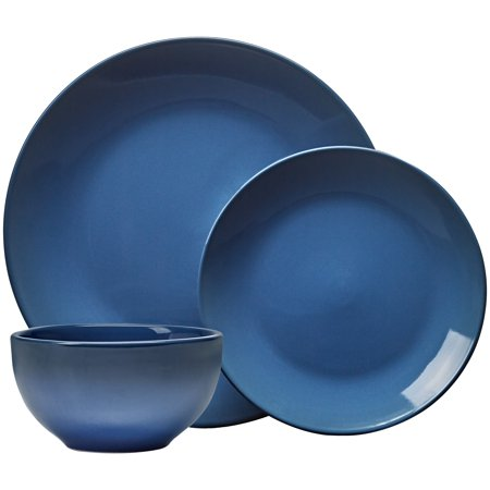 Mainstays Painter's Ombre 12-piece Lapis Blue Stoneware Dinnerware Set, Walmart (Home Stoneware)