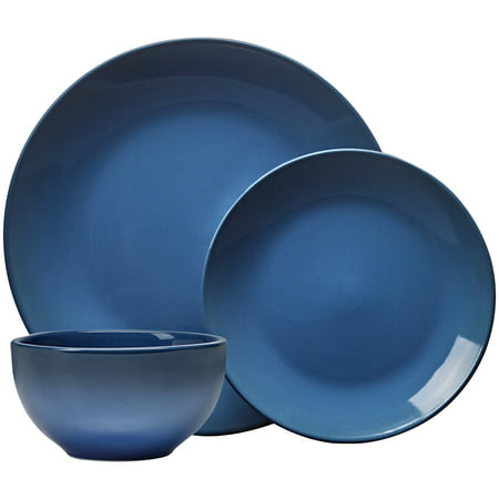 Noritake Green Plate - Mainstays Painter's Ombre 12-piece Lapis Blue Stoneware Dinnerware Set, Walmart Exclusive