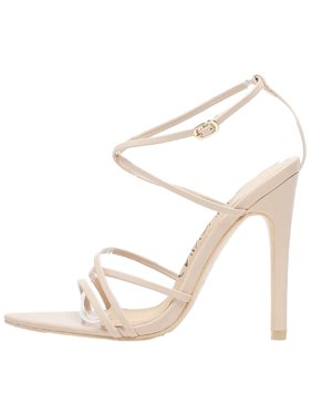 cc8dbf942 Product Image 294-9 Strappy Patent Shiny Triangle Pointed Open Toe Stiletto  High Heel Gladiator Sandal Nude