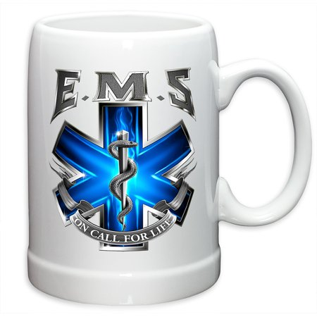 German Beer Stein – EMT Paramedic Gifts for Men or Women – EMS On Call For Life Stoneware Beer Stein – EMT Beer Glass with Logo (20 Ounces)