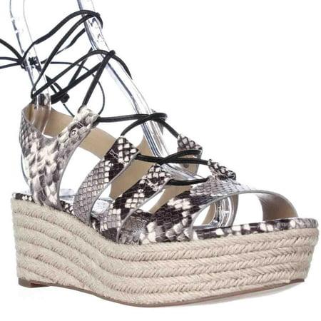 811c854c576 Michael Kors - Womens MICHAEL Michael Kors Sofia Mid Wedge Lace Up Sandals  - Natural Black