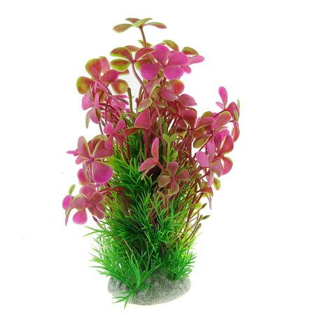 "6.9"" High Fuchsia Green Plastic Clover Plant Ornament for Aquarium - image 1 de 1"