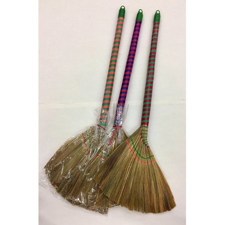 One Vietnamese Soft Fan (Straw) Broom, 40 Inch, Vietnames Soft Broom with a Long Handle. By Namaste India (Libman Long Handle)