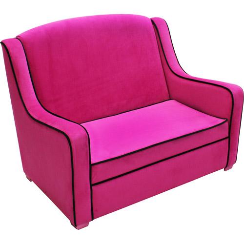 Newco Tween Camille Sofa, Hot Pink/Black