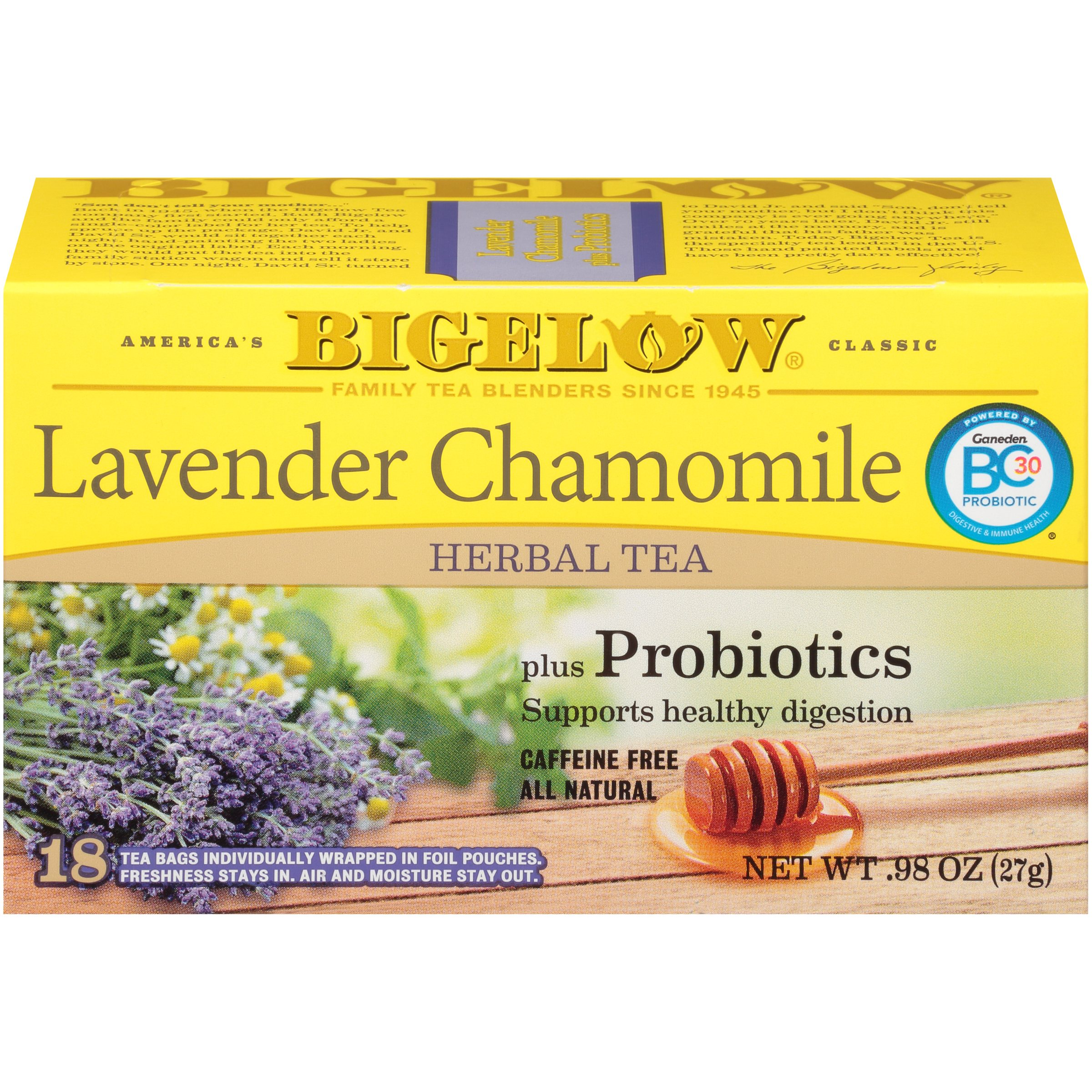 Bigelow® Lavender Chamomile Herbal Tea plus Probiotics 18 ct Pouches