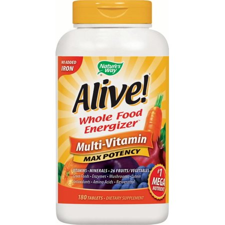 Natures Way Alive! Max3 Multivitamin Supplements No Iron Added 180