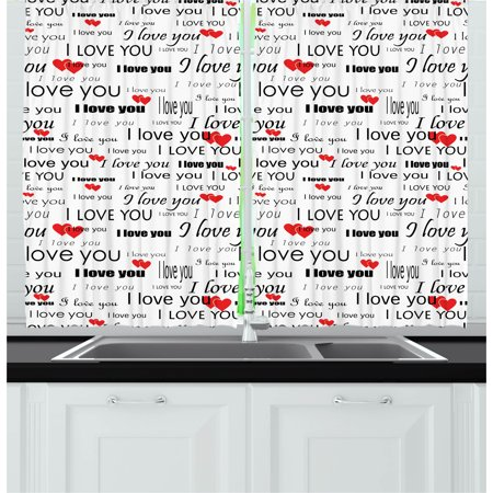 Valentine Window (Romantic Curtains 2 Panels Set, I Love You Quote with Hearts Romance Couple Valentine with Plain Backdrop, Window Drapes for Living Room Bedroom, 55W X 39L Inches, Red Black and White, by Ambesonne )