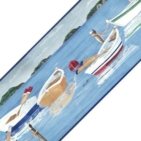 Blue Mountain Wallcoverings 12440675 Lakeside Rowboats Prepasted Wall Border Roll