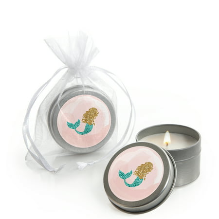 Baby Shower Candles (Let's Be Mermaids - Candle Tin Baby Shower or Birthday Party Favors (Set of)