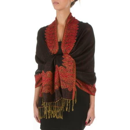 Layer Scarf - Sakkas Border Pattern Layered Reversible Woven Pashmina Shawl Scarf Wrap Stole - Black Red - One Size