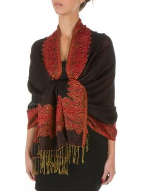 Sakkas Border Pattern Layered Reversible Woven Pashmina Shawl Scarf Wrap Stole - Black Red - One Size