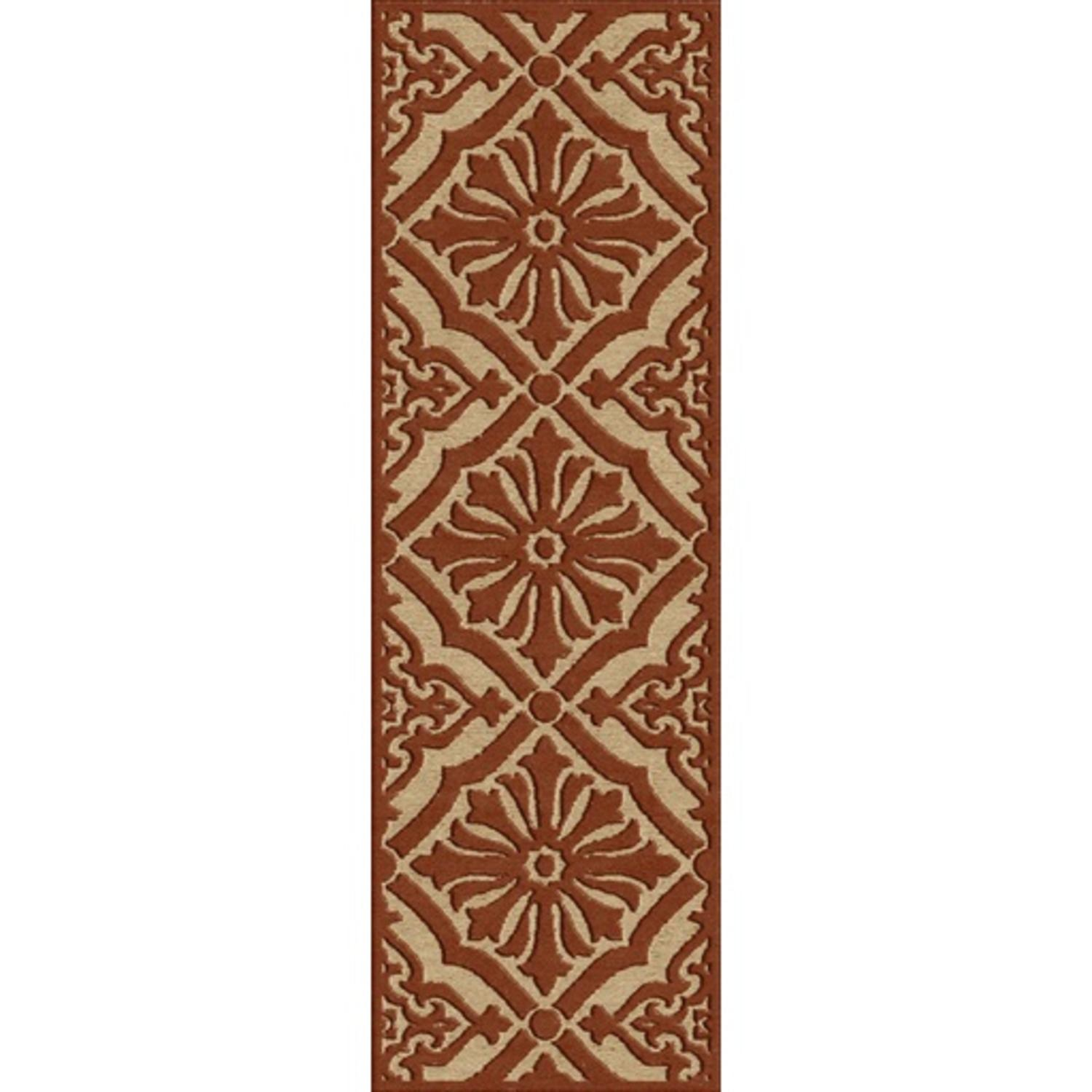 2.5' x 7.85' Regal Floral Yellow Gold and Auburn Brown Outdoor Area