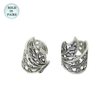 Brass Ear Cuffs Silver Plated Adjustable with Leaf Design ()
