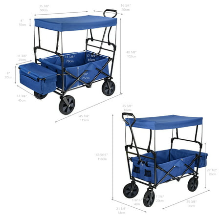 GreenWise Wheelbarrows, Collapsible Wagon Folding Utility Outdoor Garden Cart with Canopy,165lb Capacity (Blue) - image 4 of 6