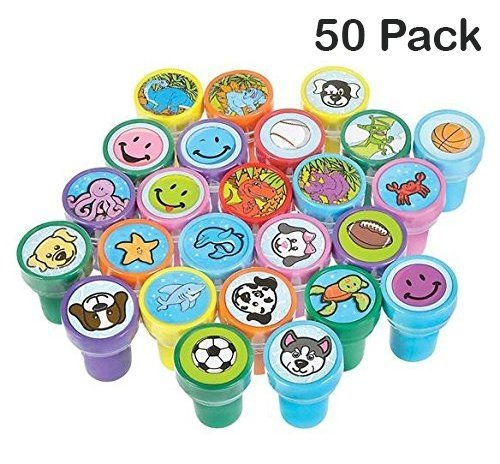 Stamps For Kids – 50 Plastic Self-Ink Stampers – To Motivate And Bribe Kids - Kids Arts & Crafts, Collections, Prizes, Bag Stuffers – By Kidsco