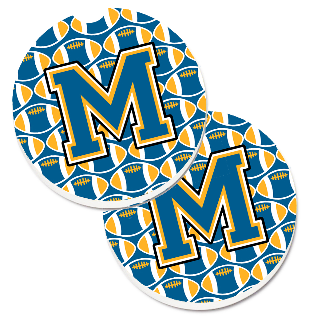 Letter M Football Blue and Gold Set of 2 Cup Holder Car Coasters CJ1077-MCARC CJ1077-MCARC