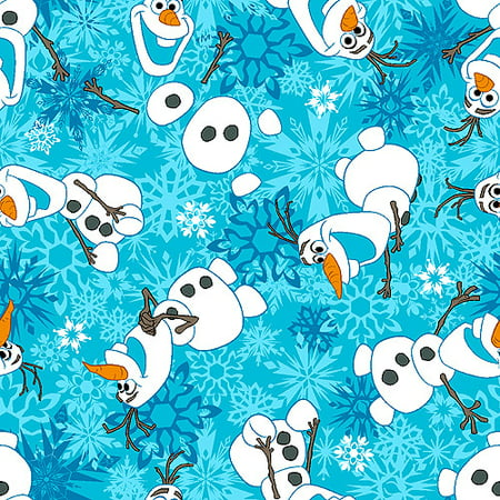 Disney Frozen Olaf Winter Snowflakes Scene Fleece Fabric, 59/60