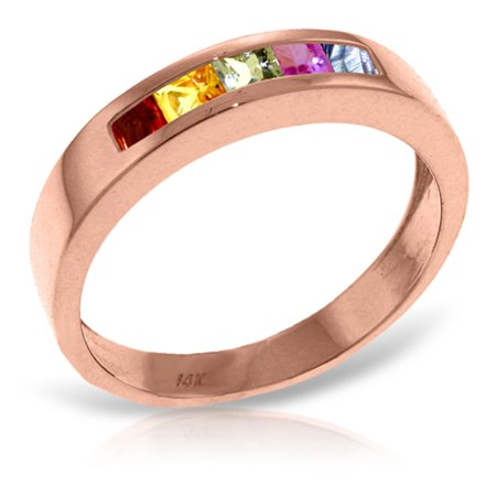 ALARRI 14K Solid Rose Gold Rings w/ Natural Multicolor Sapphires With Ring Size 5.5.