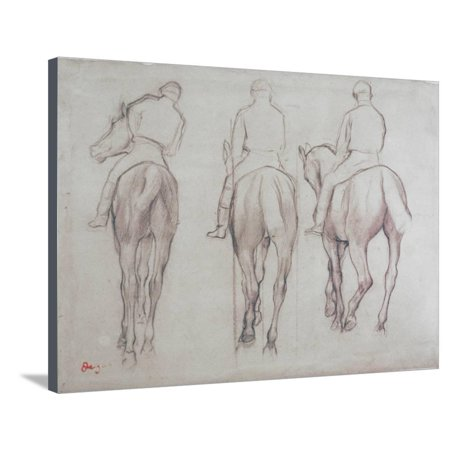 Jockeys Figurative Sport Illustration Stretched Canvas Print Wall Art By Edgar Degas