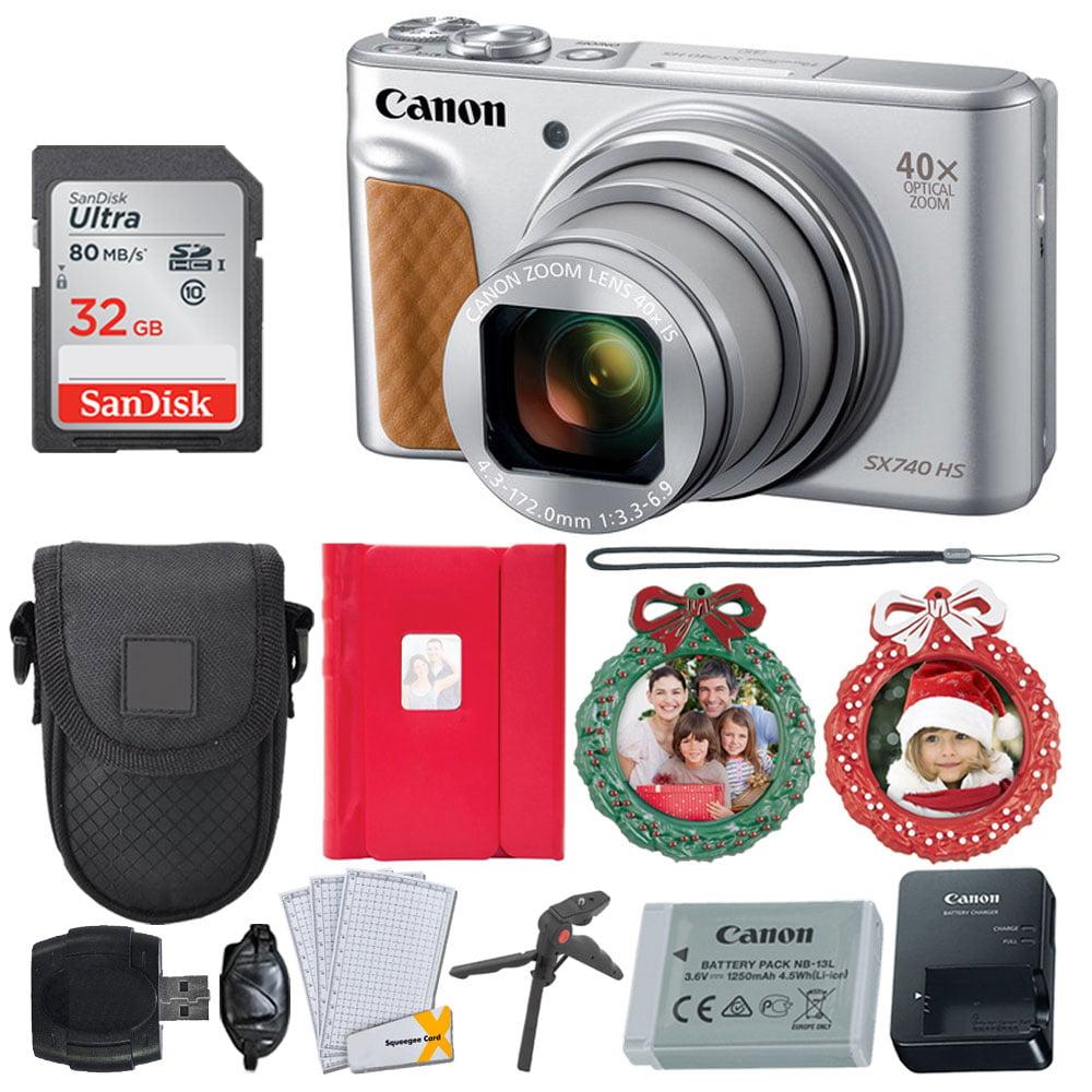 Canon PowerShot SX740 HS Digital Camera (Silver) - 4K Video, Wi-Fi, NFC & Bluetooth Enabled + 32GB Memory Card + Point & Shoot Case + 2X Wreath Photo Ornaments + 4x6 Photo Album – Holiday Bundle