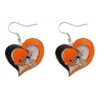 NFL Swirl Heart Earrings Dangle Charm Team Logo PICK YOUR TEAM w/Gift Box