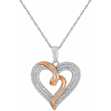 1/2 Carat T.W. Diamond 14kt Rose Gold over Sterling Silver Heart Pendant, 18