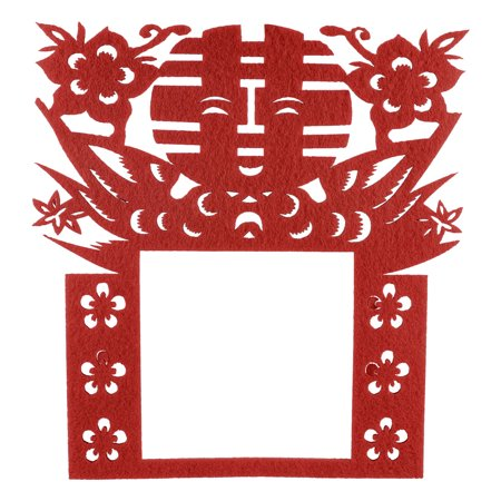 Unique Bargains Chinese Wedding Paper Cut Double Happiness Flowers Wall Light Switch Cover Red