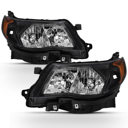 Fits 2009-2013 Subaru Forester Black Halogen Headlights Complete Replacement Set ()