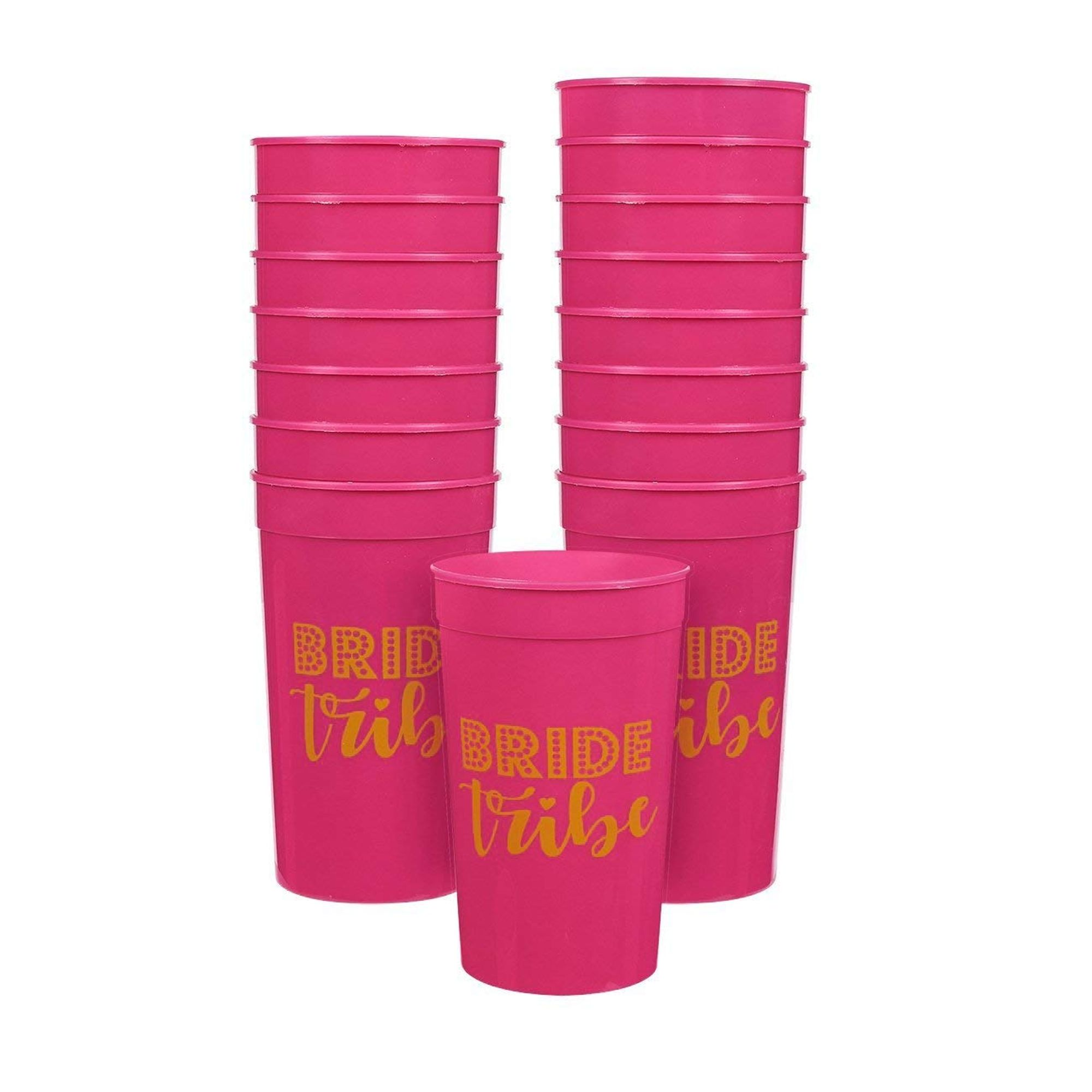 16-Pack Plastic Bride Tribe Party Cups Hot Pink Bachelorette Party Cups 16oz