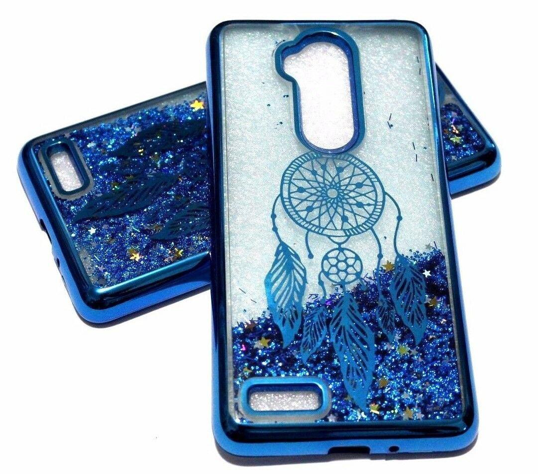 For ZTE MAX XL N9560 - Blue Dream Catcher Glitter Stars Liquid Water Case  Cover