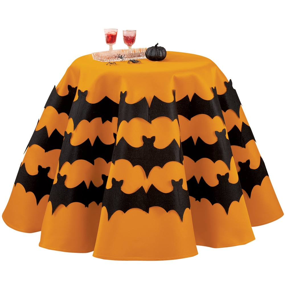 Round Orange Halloween Tablecloth With Bats, 70""