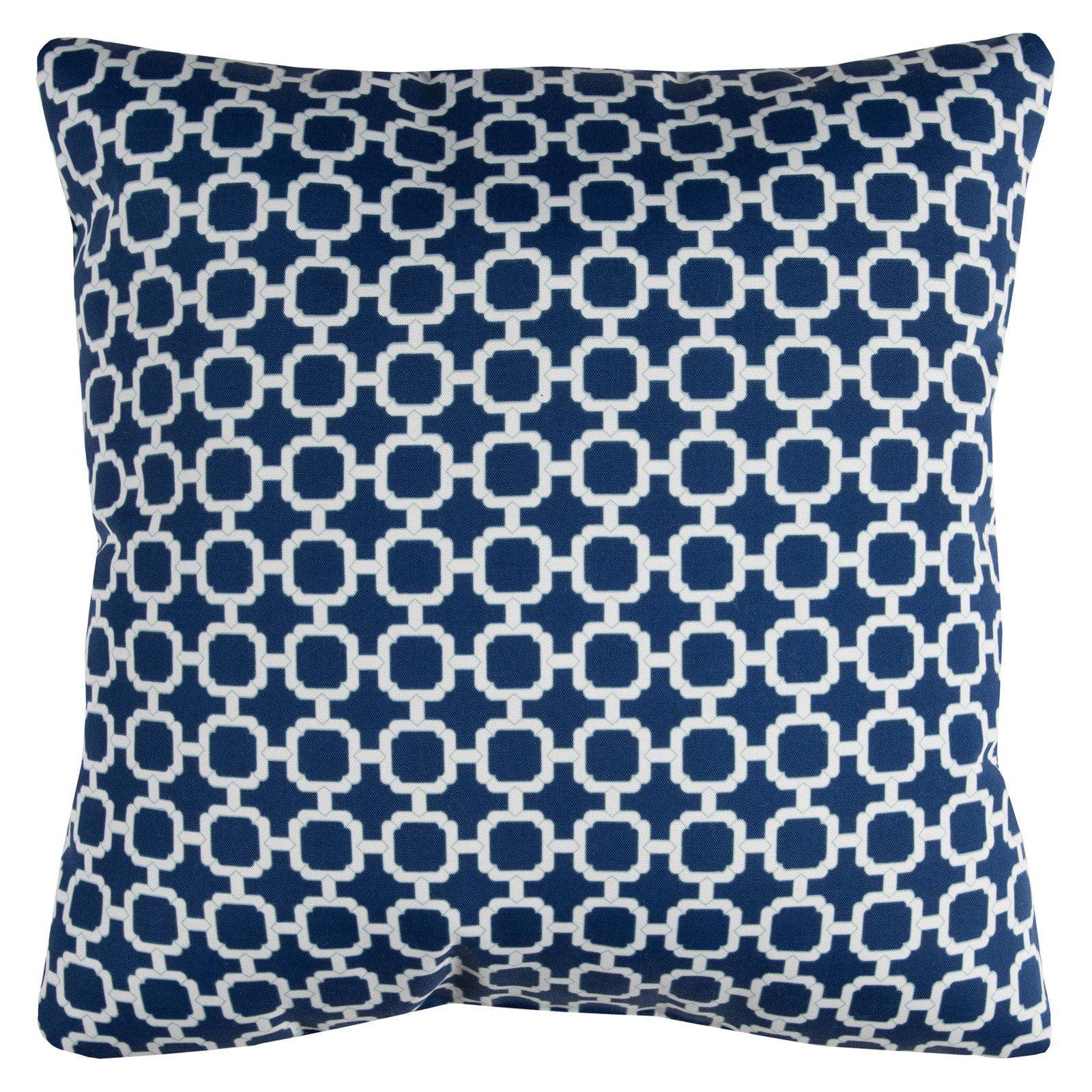 "Rizzy Home Decorative Poly Filled Throw Pillow Geometric 22""X22"" Indigo"