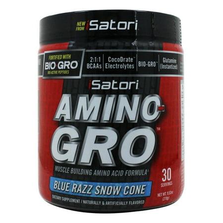 Isatori   Amino Gro Muscle Building Amino Acid Formula Blue Razz Snow Cone   9 52 Oz