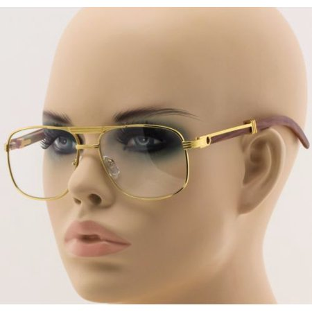 c88cc15c26 Retro Wood Buffs Art Nouveau Vintage Square Metal Frame Clear Lens Eye  Glasses - Walmart.com