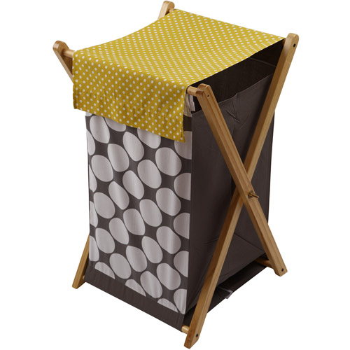 Bacati Dots Pin Stripes Hamper with Cotton Percale cover, mesh liner and Natural Color Wooden frame, Gray Yellow by Bacati