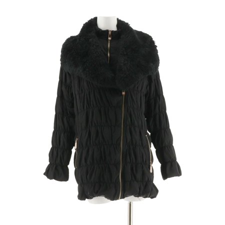 Dennis Basso Ruched Jacket Detach Faux Fur Collar (Black Leather Jacket With White Fur Collar)